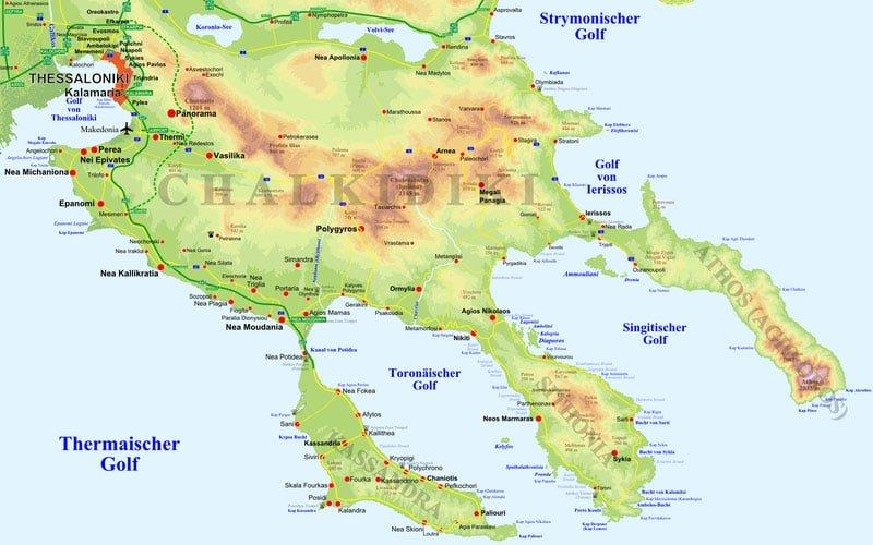 Chalkidiki Karte